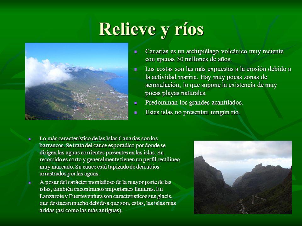 Relieve y ríos Canarias es un archipiélago volcánico muy reciente con apenas 30 millones de años.