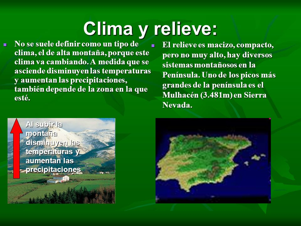 Clima y relieve: