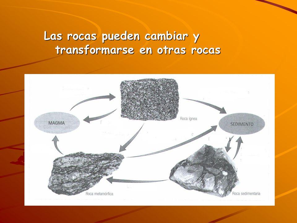 Las rocas pueden cambiar y transformarse en otras rocas