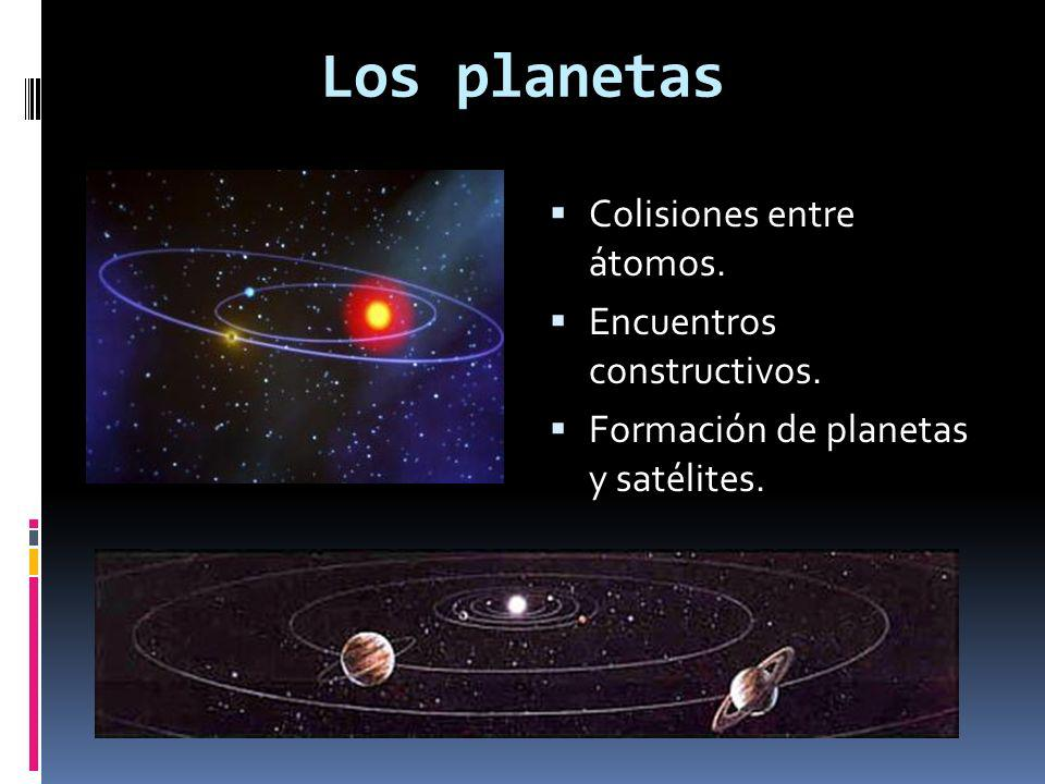 Los planetas Colisiones entre átomos. Encuentros constructivos.