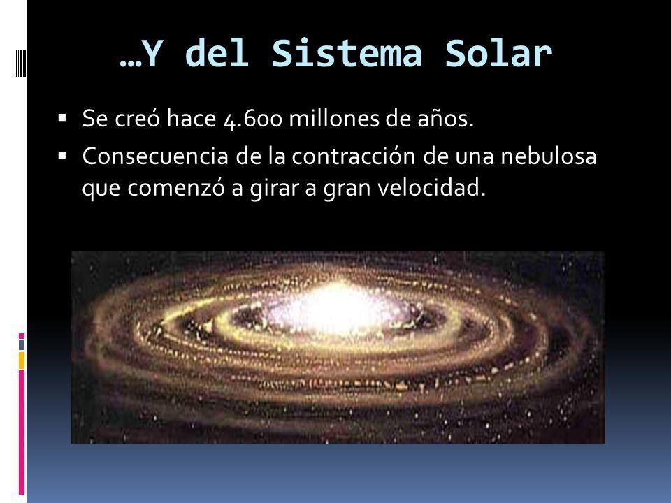 …Y del Sistema Solar Se creó hace 4.600 millones de años.