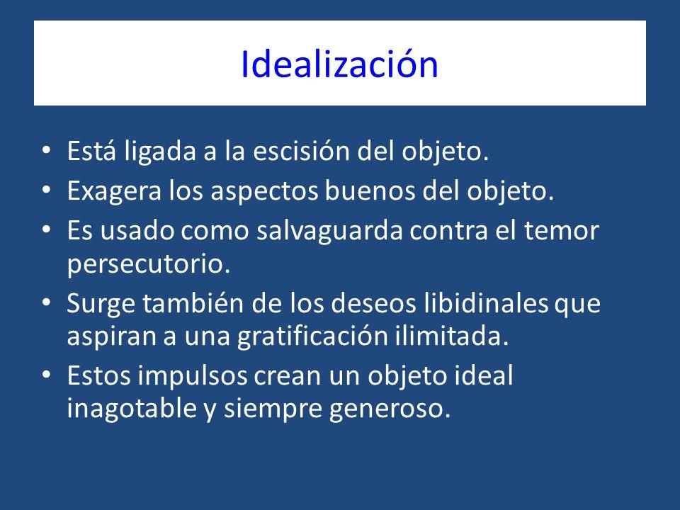 Idealización Está ligada a la escisión del objeto.