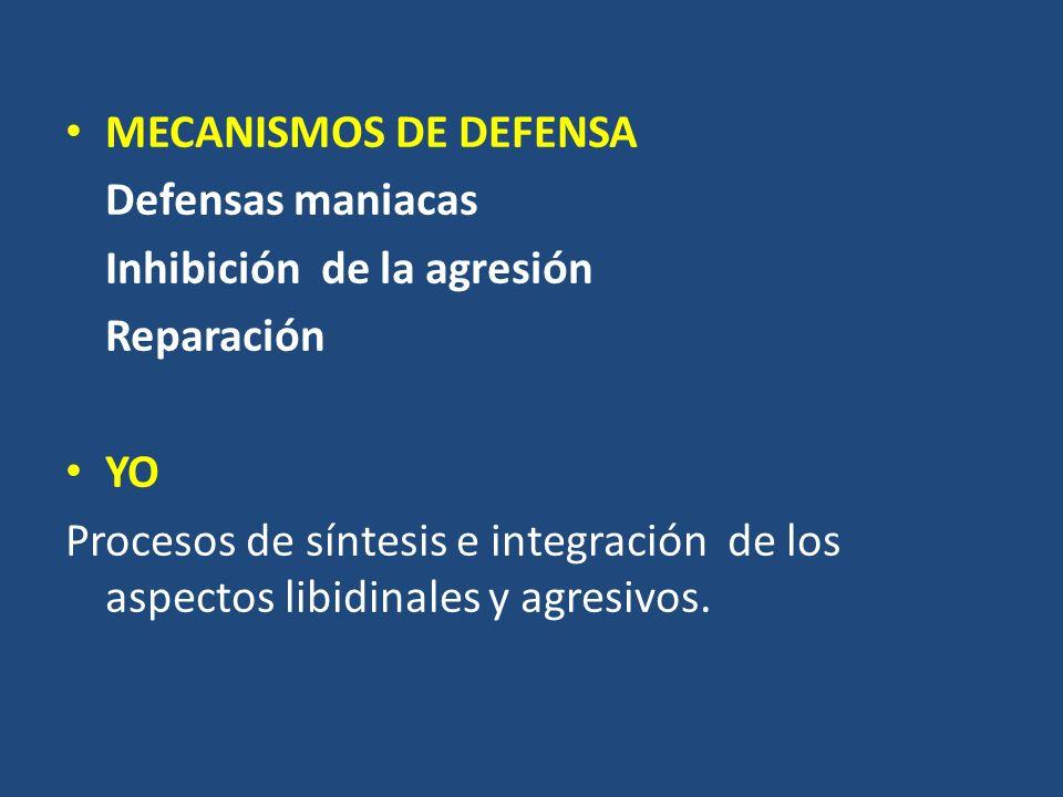MECANISMOS DE DEFENSA Defensas maniacas. Inhibición de la agresión. Reparación. YO.