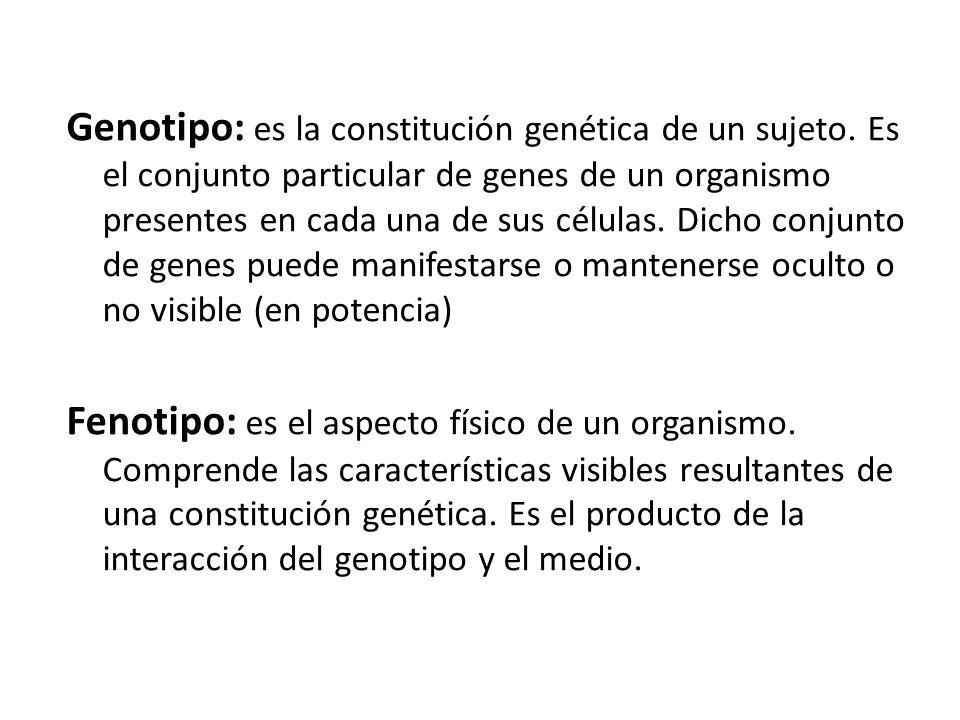 Genotipo: es la constitución genética de un sujeto
