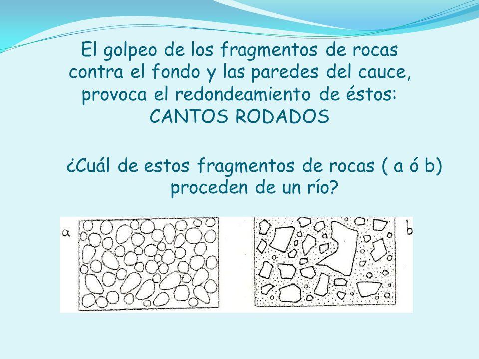 ¿Cuál de estos fragmentos de rocas ( a ó b) proceden de un río