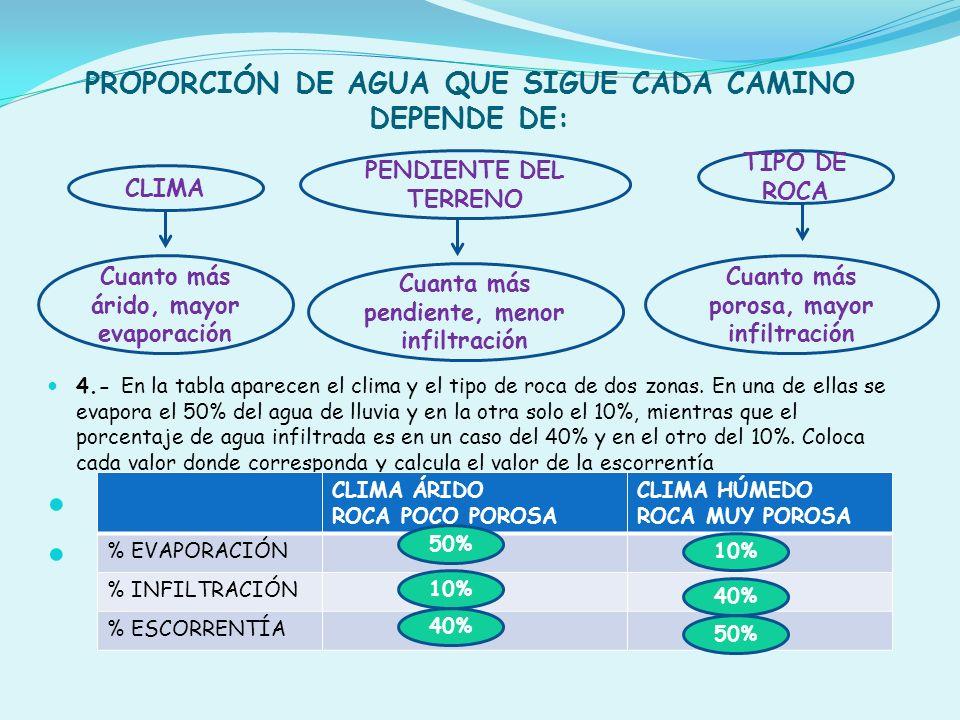 PROPORCIÓN DE AGUA QUE SIGUE CADA CAMINO DEPENDE DE: