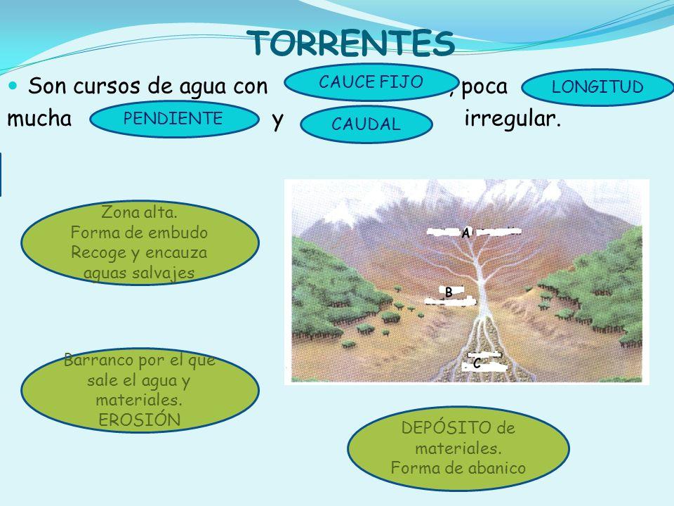TORRENTES Son cursos de agua con , poca mucha y irregular. CAUCE FIJO