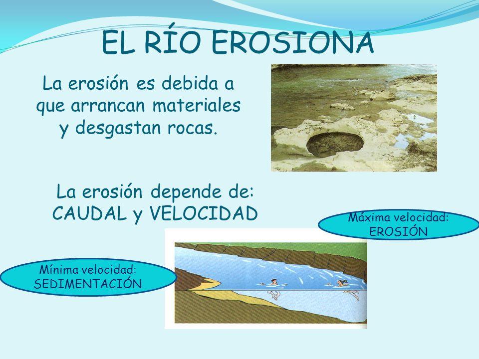 La erosión es debida a que arrancan materiales y desgastan rocas.