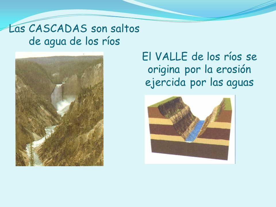 Las CASCADAS son saltos de agua de los ríos