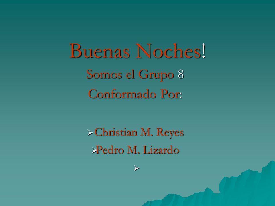 Somos el Grupo 8 Conformado Por: Christian M. Reyes Pedro M. Lizardo