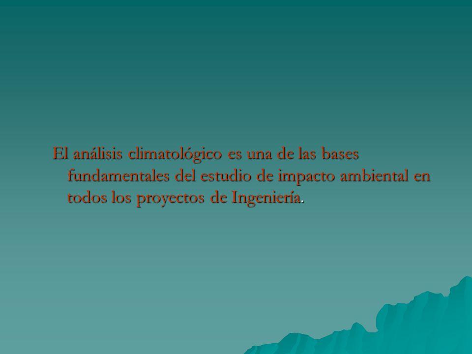 El análisis climatológico es una de las bases fundamentales del estudio de impacto ambiental en todos los proyectos de Ingeniería.