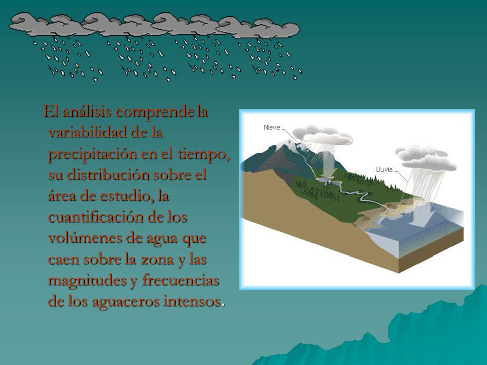 El análisis comprende la variabilidad de la precipitación en el tiempo, su distribución sobre el área de estudio, la cuantificación de los volúmenes de agua que caen sobre la zona y las magnitudes y frecuencias de los aguaceros intensos.