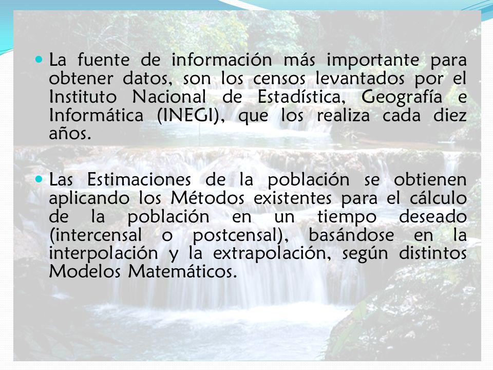 La fuente de información más importante para obtener datos, son los censos levantados por el Instituto Nacional de Estadística, Geografía e Informática (INEGI), que los realiza cada diez años.