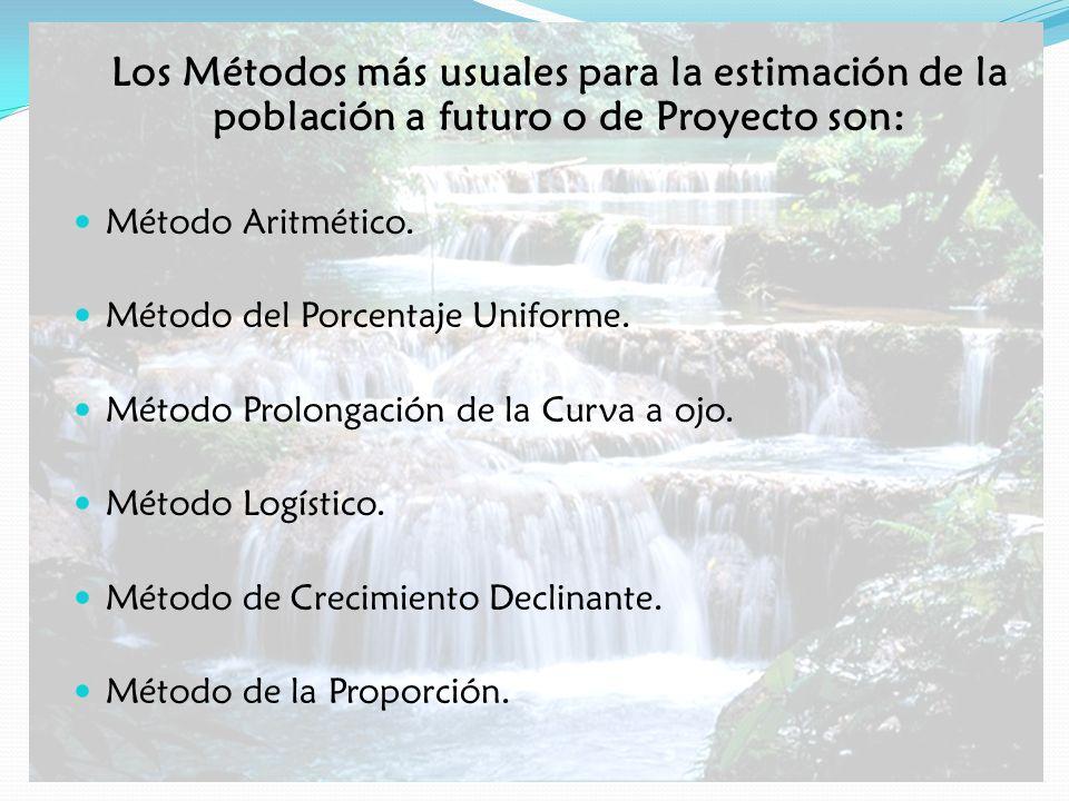 Los Métodos más usuales para la estimación de la población a futuro o de Proyecto son: