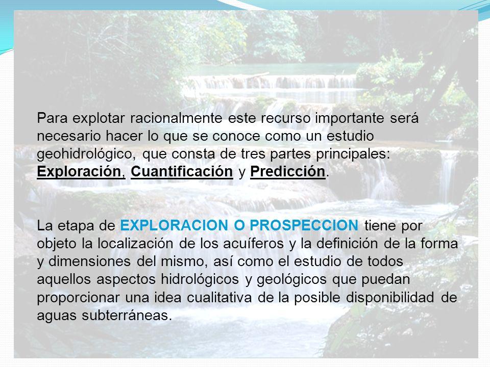 Para explotar racionalmente este recurso importante será necesario hacer lo que se conoce como un estudio geohidrológico, que consta de tres partes principales: Exploración, Cuantificación y Predicción.