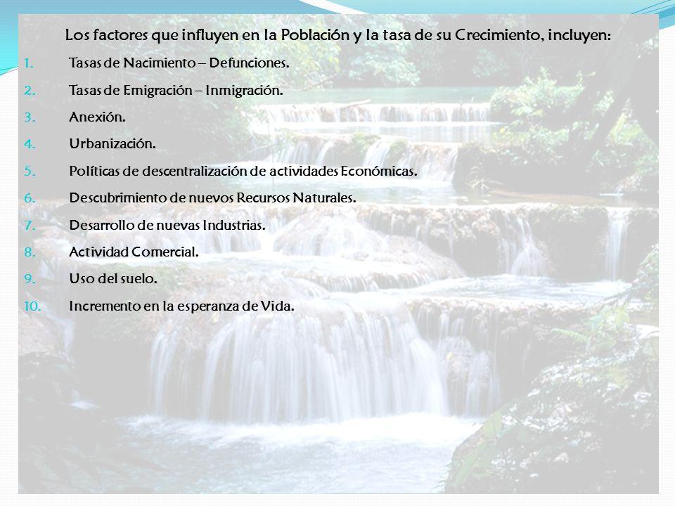 Los factores que influyen en la Población y la tasa de su Crecimiento, incluyen: