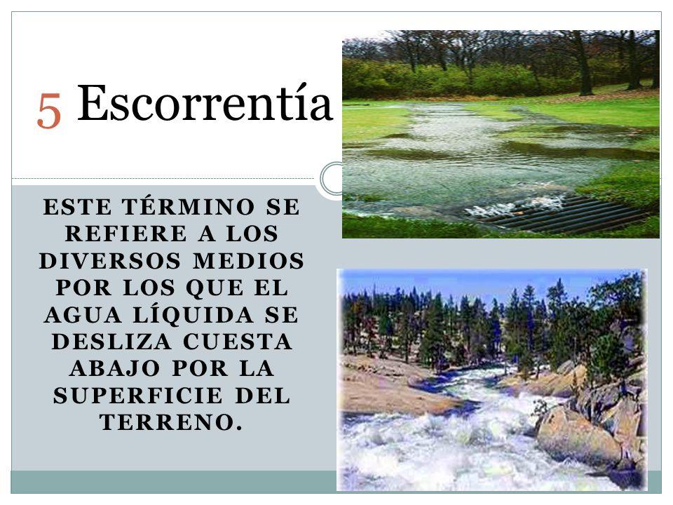 5.Escorrentía Este término se refiere a los diversos medios por los que el agua líquida se desliza cuesta abajo por la superficie del terreno.