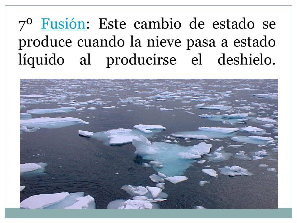 7º Fusión: Este cambio de estado se produce cuando la nieve pasa a estado líquido al producirse el deshielo.
