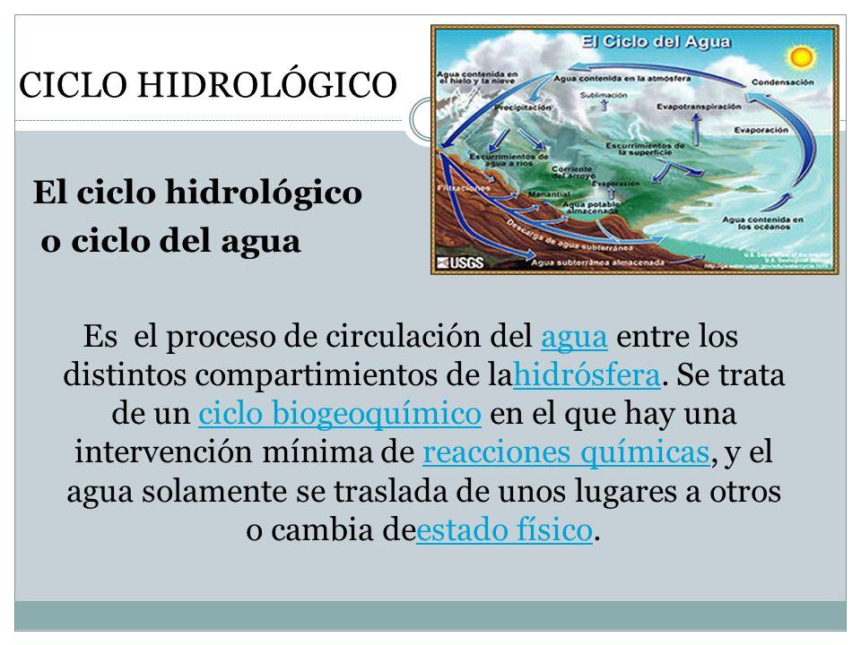 CICLO HIDROLÓGICO El ciclo hidrológico o ciclo del agua