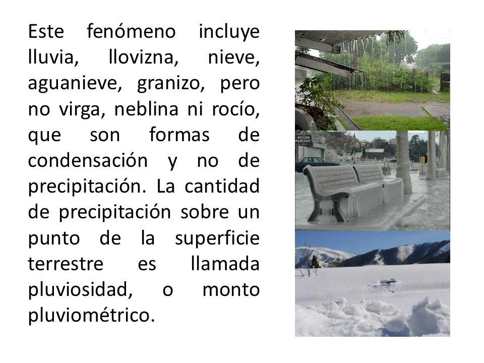 Este fenómeno incluye lluvia, llovizna, nieve, aguanieve, granizo, pero no virga, neblina ni rocío, que son formas de condensación y no de precipitación.