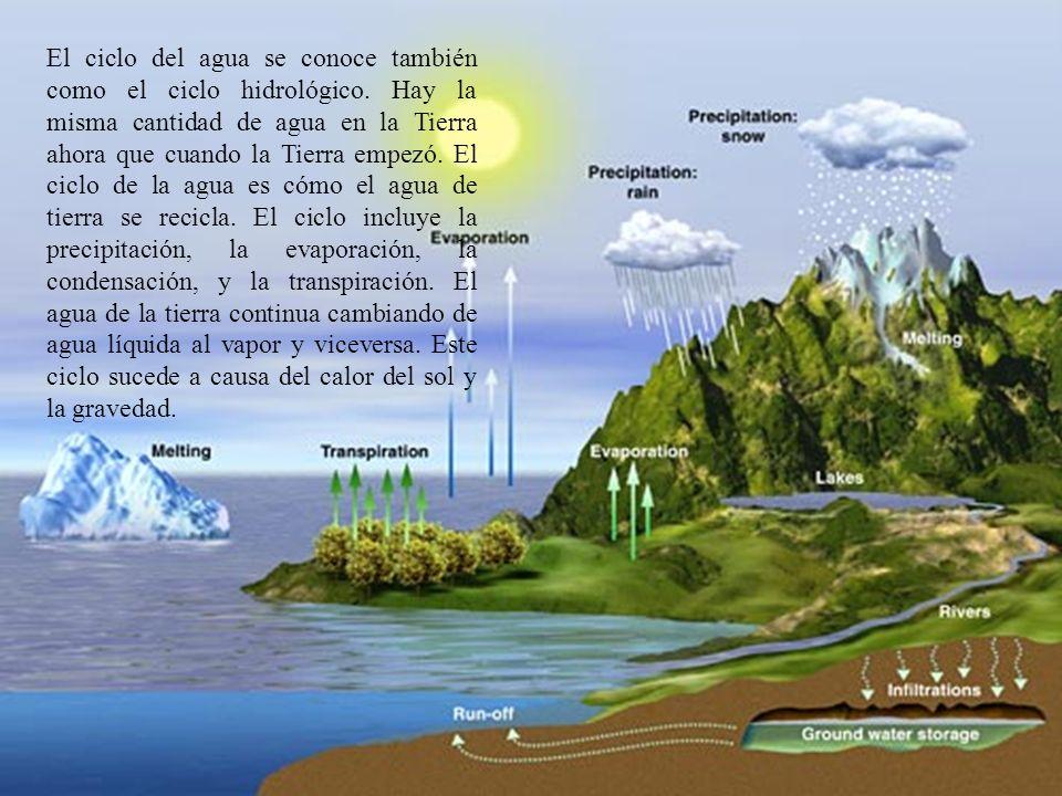 El ciclo del agua se conoce también como el ciclo hidrológico