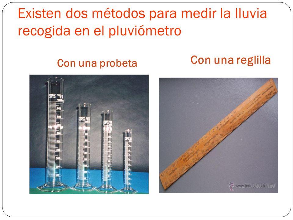 Existen dos métodos para medir la lluvia recogida en el pluviómetro