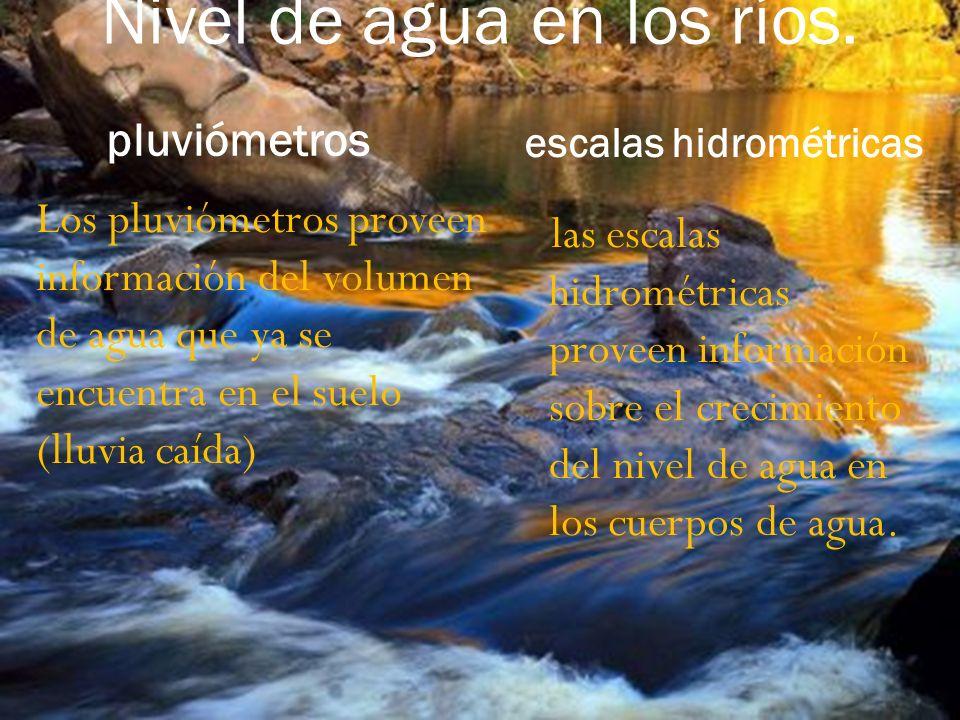 Nivel de agua en los ríos.