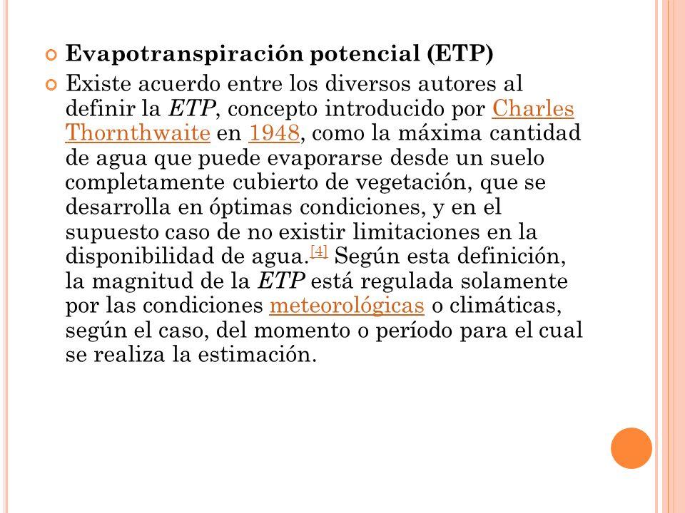Evapotranspiración potencial (ETP)