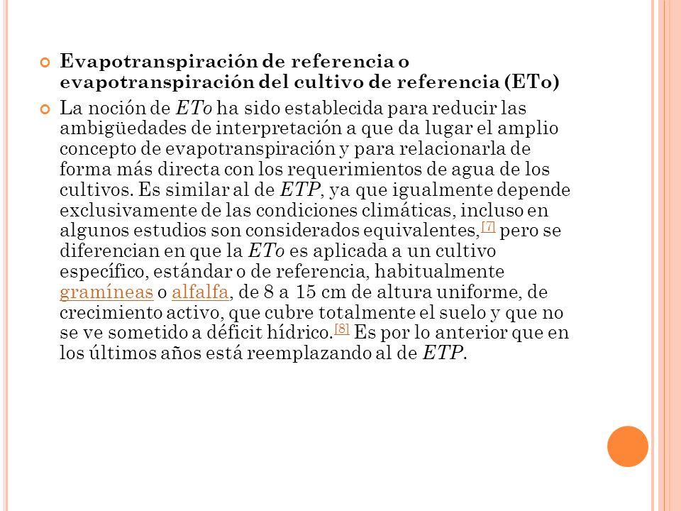 Evapotranspiración de referencia o evapotranspiración del cultivo de referencia (ETo)