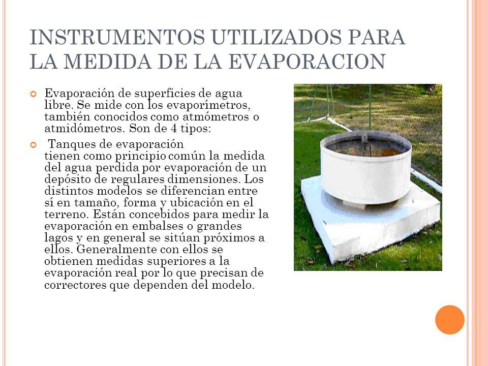 INSTRUMENTOS UTILIZADOS PARA LA MEDIDA DE LA EVAPORACION