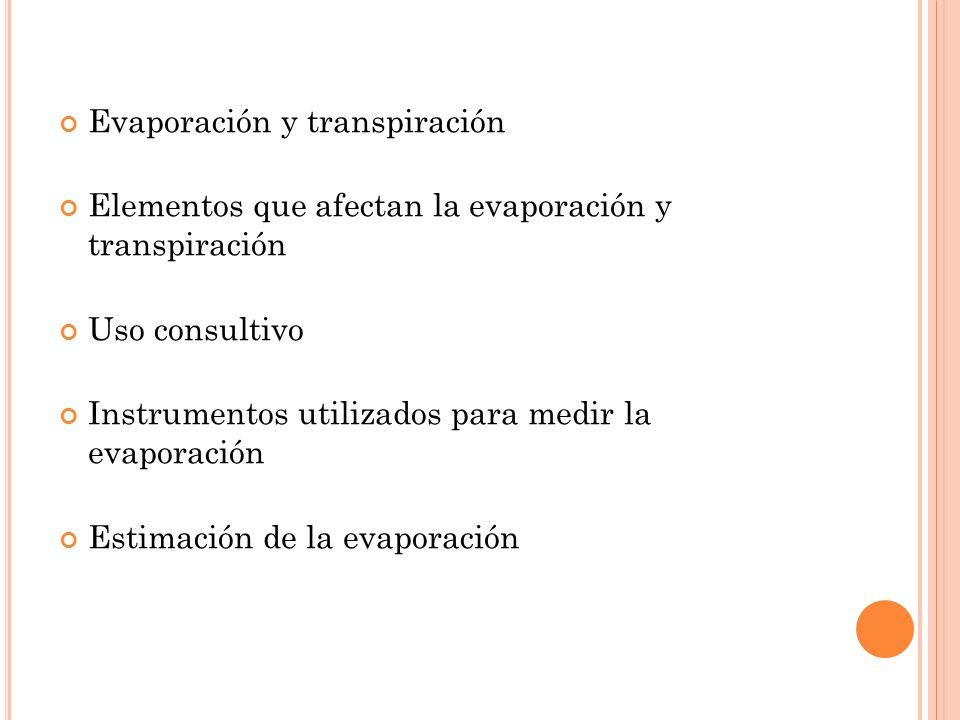 Evaporación y transpiración