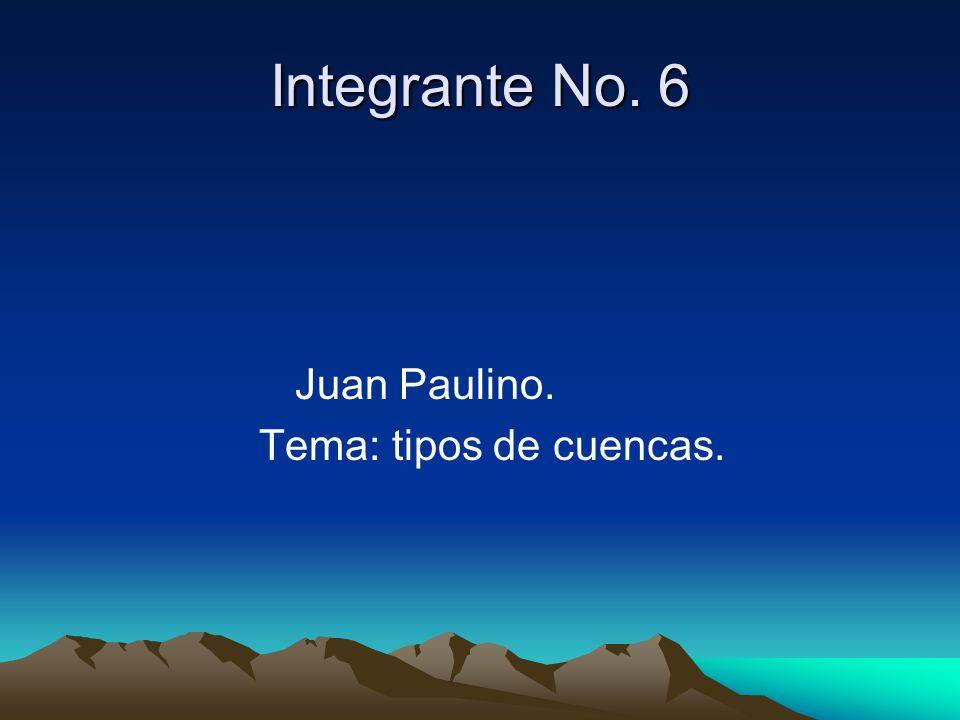 Integrante No. 6 Juan Paulino. Tema: tipos de cuencas.