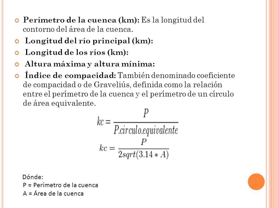 Perímetro de la cuenca (km): Es la longitud del contorno del área de la cuenca. Longitud del río principal (km):