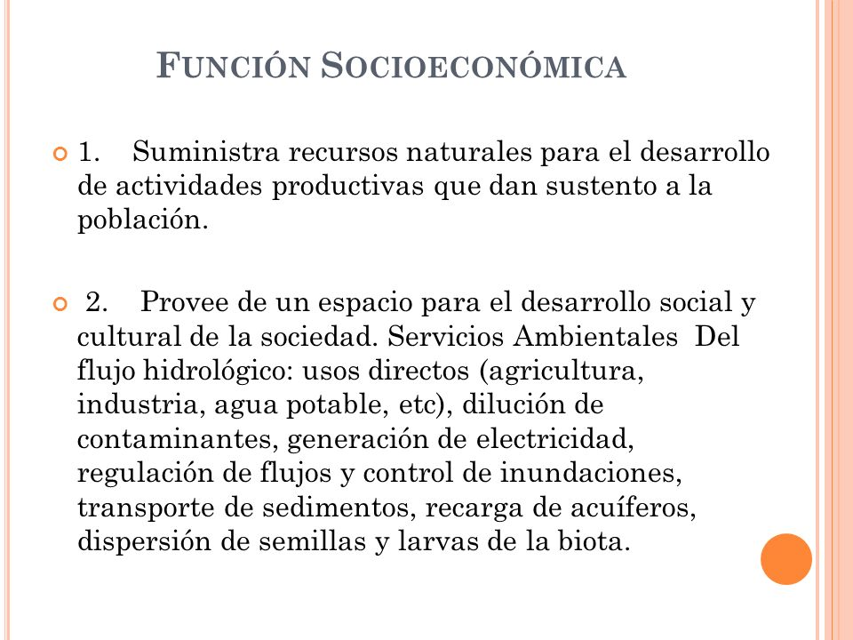 Función Socioeconómica