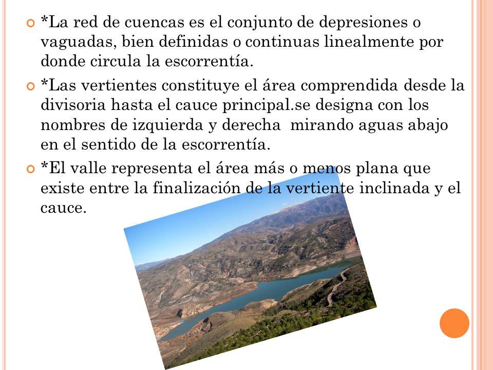 *La red de cuencas es el conjunto de depresiones o vaguadas, bien definidas o continuas linealmente por donde circula la escorrentía.