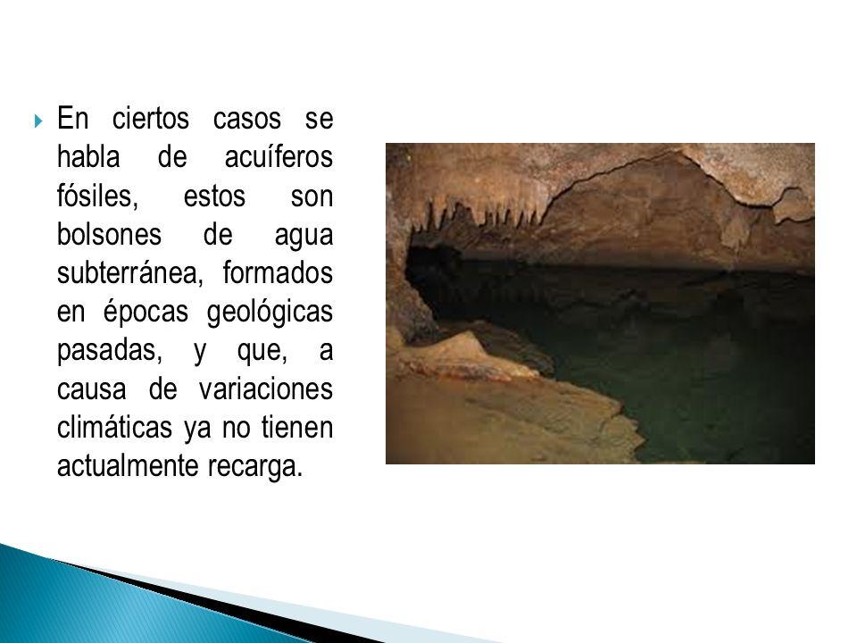 En ciertos casos se habla de acuíferos fósiles, estos son bolsones de agua subterránea, formados en épocas geológicas pasadas, y que, a causa de variaciones climáticas ya no tienen actualmente recarga.