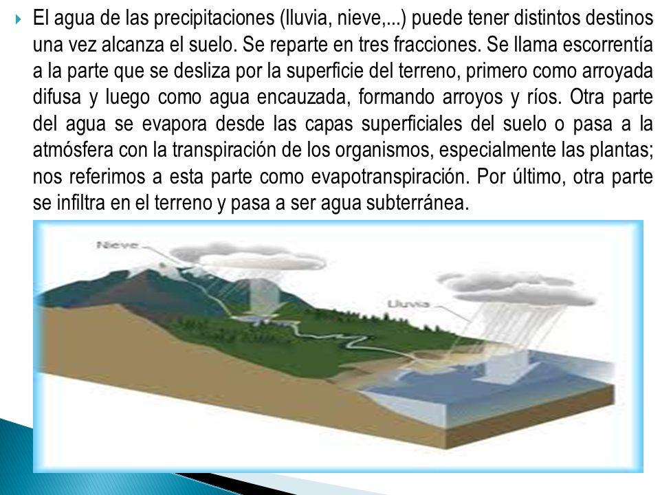 El agua de las precipitaciones (lluvia, nieve,