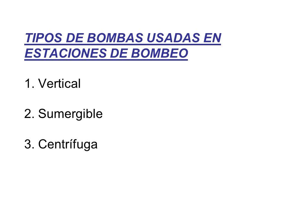 TIPOS DE BOMBAS USADAS EN ESTACIONES DE BOMBEO 1. Vertical 2