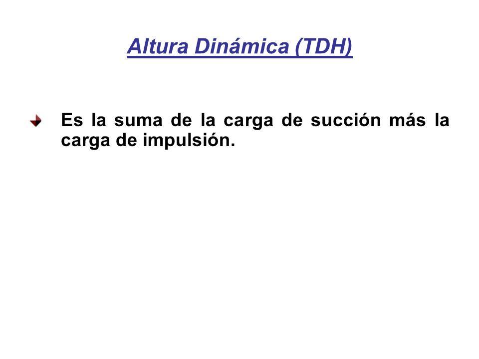 Altura Dinámica (TDH) Es la suma de la carga de succión más la carga de impulsión.