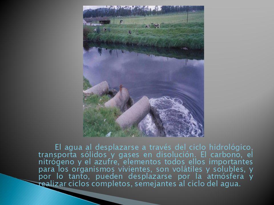 El agua al desplazarse a través del ciclo hidrológico, transporta sólidos y gases en disolución.