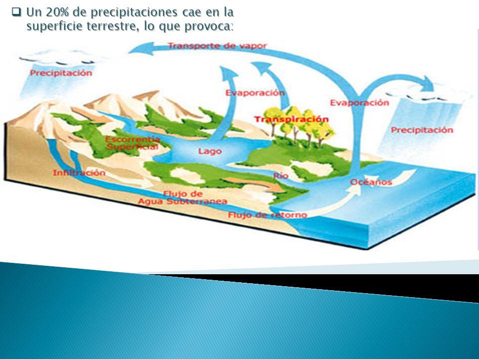 Un 20% de precipitaciones cae en la superficie terrestre, lo que provoca: