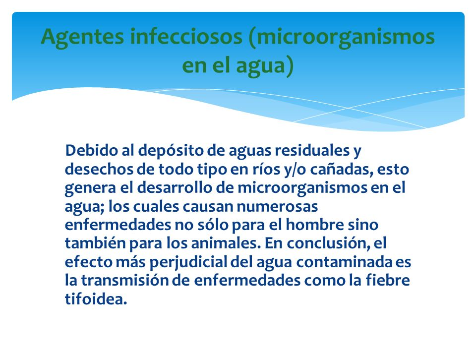 Agentes infecciosos (microorganismos en el agua)