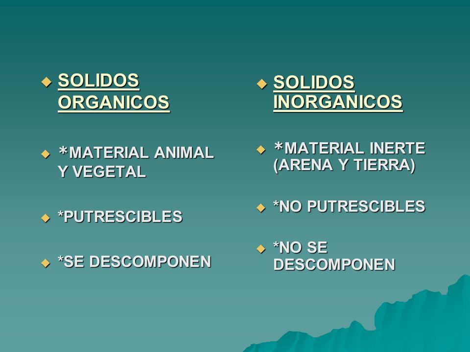 SOLIDOS ORGANICOS SOLIDOS INORGANICOS *MATERIAL ANIMAL Y VEGETAL