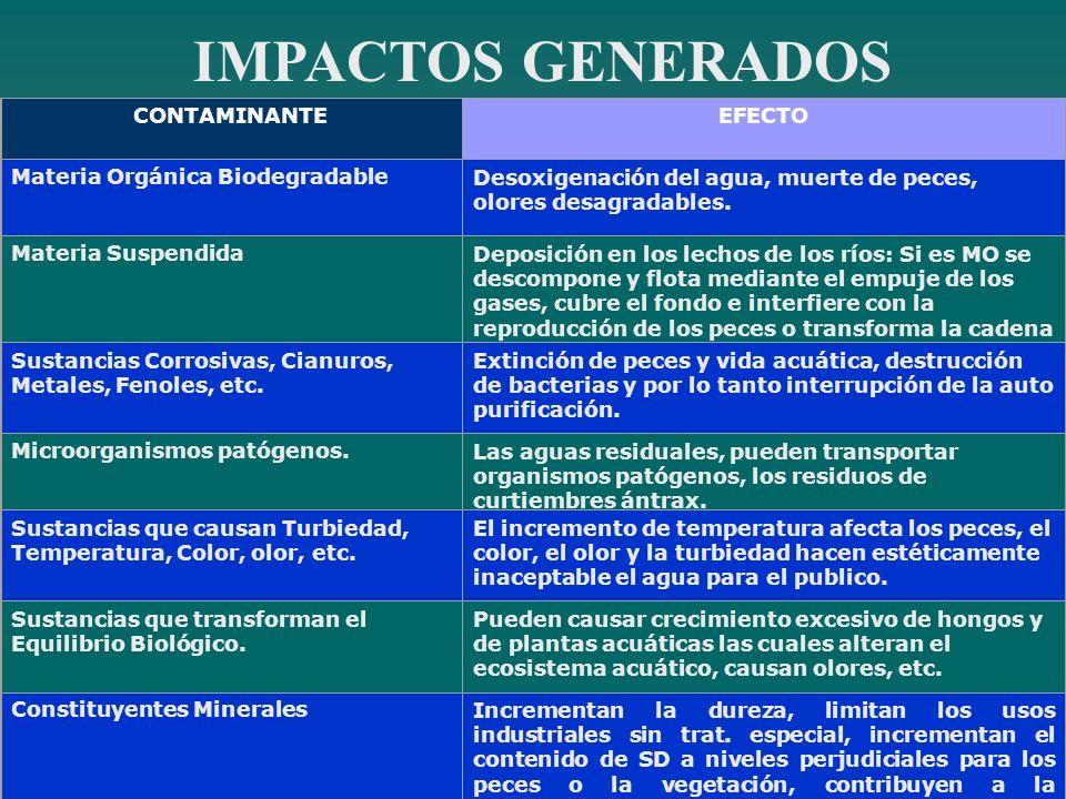 IMPACTOS GENERADOS CONTAMINANTE EFECTO Materia Orgánica Biodegradable