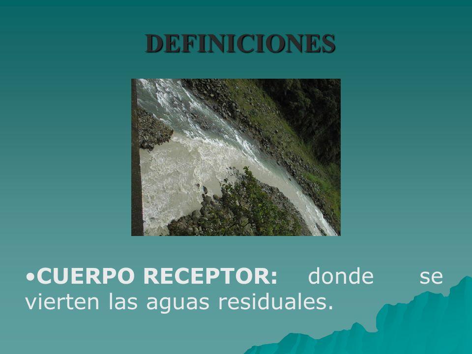 DEFINICIONES CUERPO RECEPTOR: donde se vierten las aguas residuales.
