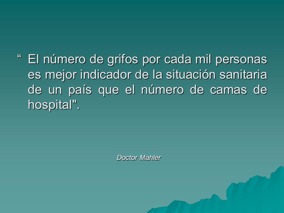 El número de grifos por cada mil personas es mejor indicador de la situación sanitaria de un país que el número de camas de hospital .
