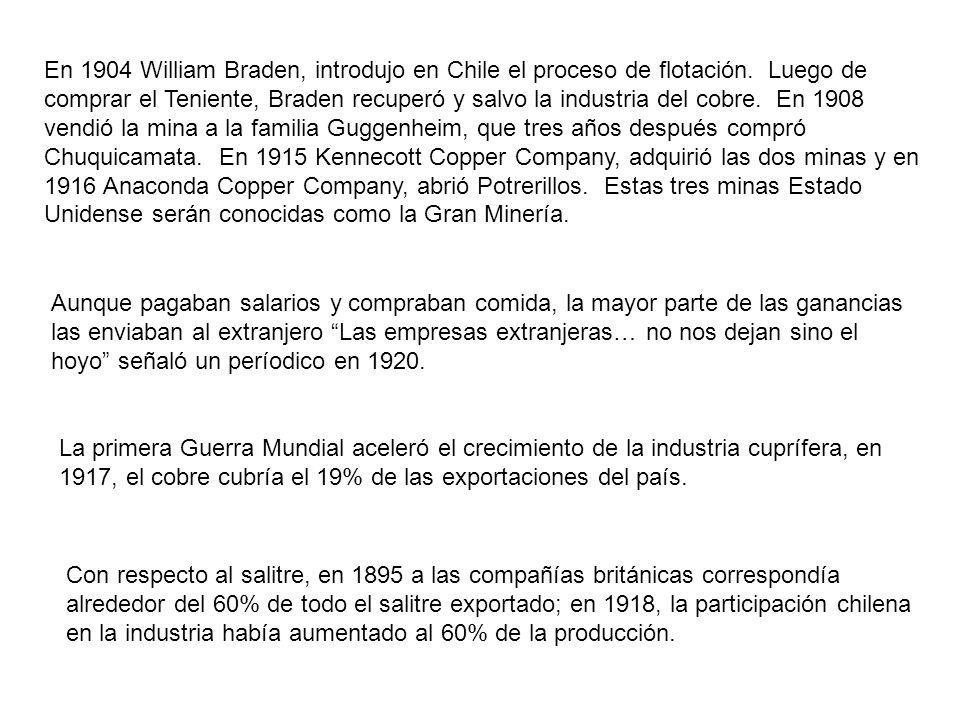 En 1904 William Braden, introdujo en Chile el proceso de flotación