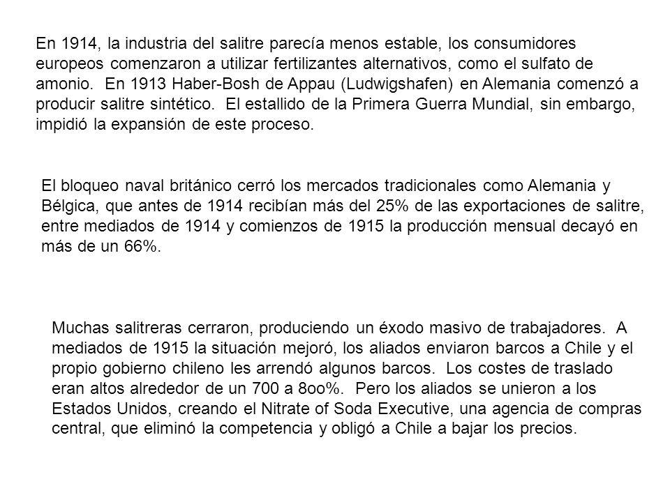 En 1914, la industria del salitre parecía menos estable, los consumidores europeos comenzaron a utilizar fertilizantes alternativos, como el sulfato de amonio. En 1913 Haber-Bosh de Appau (Ludwigshafen) en Alemania comenzó a producir salitre sintético. El estallido de la Primera Guerra Mundial, sin embargo, impidió la expansión de este proceso.