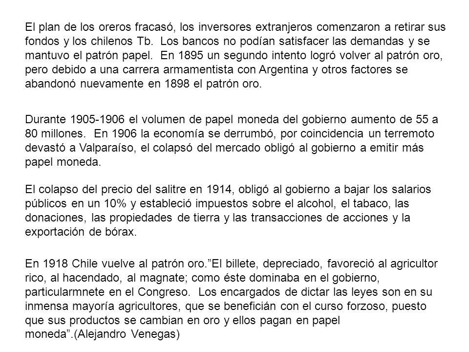 El plan de los oreros fracasó, los inversores extranjeros comenzaron a retirar sus fondos y los chilenos Tb. Los bancos no podían satisfacer las demandas y se mantuvo el patrón papel. En 1895 un segundo intento logró volver al patrón oro, pero debido a una carrera armamentista con Argentina y otros factores se abandonó nuevamente en 1898 el patrón oro.