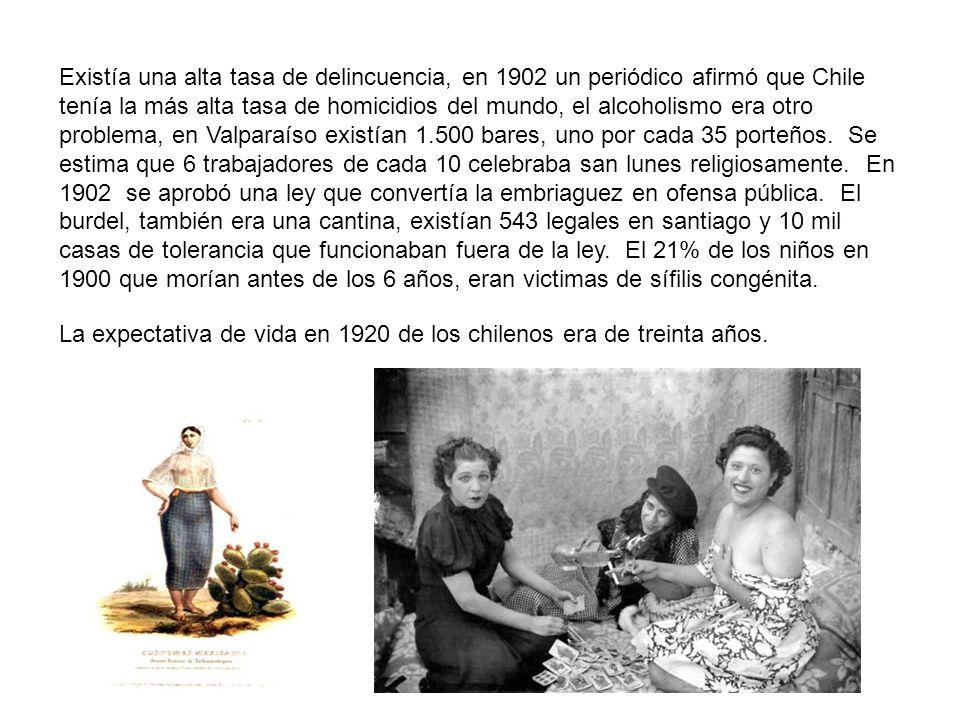 Existía una alta tasa de delincuencia, en 1902 un periódico afirmó que Chile tenía la más alta tasa de homicidios del mundo, el alcoholismo era otro problema, en Valparaíso existían 1.500 bares, uno por cada 35 porteños. Se estima que 6 trabajadores de cada 10 celebraba san lunes religiosamente. En 1902 se aprobó una ley que convertía la embriaguez en ofensa pública. El burdel, también era una cantina, existían 543 legales en santiago y 10 mil casas de tolerancia que funcionaban fuera de la ley. El 21% de los niños en 1900 que morían antes de los 6 años, eran victimas de sífilis congénita.